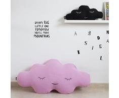 Paparajote Factory Cloud XL - Cojín para cama infantil de algodón con forma de nube, desenfundable, 95 x 50 cm, color chicle
