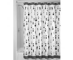 InterDesign SophistiCat - Cortina para ducha, 180 x 200 cm, color negro y blanco
