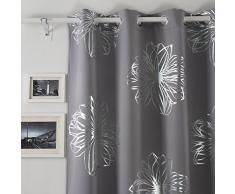 Deconovo Opaca Cortina Estampada Foil Print Floral Térmica Aislante y Ruido Reducción con Ojales 135 X 260 Cm Gris Claro