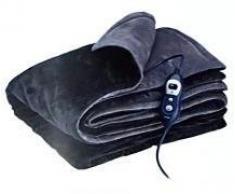 Solac CT8600 - Manta eléctrica Reikiavik, 160 W, 6 niveles de temperatura, reversible, tejido extra suave, Tecnología Sensfort, autoapagado, color gris y azul