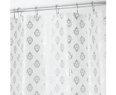 InterDesign Revestimiento para cortina de ducha, de PEVA espesor 3, SIN PVC, RESISTENTE A MOHO Y HONGOS, INODORO, No huele a químico - 183 cm x 183 cm - Plateado Florencia