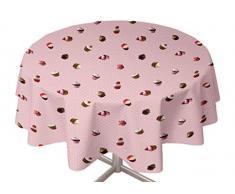 Soleil d'ocre mantel redondo encerado 855153 PVC 160 x 160 cm-rosa