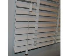 Las láminas de la persiana de madera en colour blanco de la anchura de 50 mm de longitud de piel de 170 cm, blanco, 60