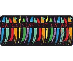ID Mat 50120 Arty La Cuisine est Un Art – Alfombrilla de cocina de fibra de poliamida y PVC (120 x 50 x 0,4 cm), diseño con la inscripción «La cuisine est un art» [texto en francés], multicolor