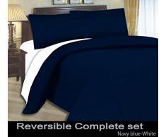 A&R - Juego de funda nórdica reversible, sábana bajera y fundas de almohada para cama de matrimonio (microfibra, 4 piezas), color azul