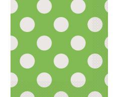 Unique Party Paquete de 16 servilletas de Papel a Lunares, Color Verde Lima, (30423)