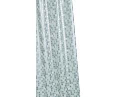Croydex AE543440 - Cortina de ducha de PVC con diseño de mosaico (1,8 x 1,8 m), color plateado