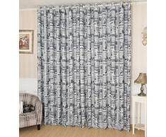 Malloom®(200cm x 100 cm)patrón de periódicos puerta ventana balcón cortina panel de cortina bufanda cenefas (gris)