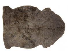 Alfombra piel de cordero CAFÉ natural sin teñir marrón para decoración largo 80 / 90 cm