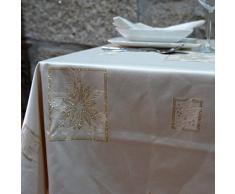 BGEUROPE - Mantel de Navidad – Tratamiento Anti Manchas - Ref. Christmas – Beige, 59 x 59 (150 x 150cm)