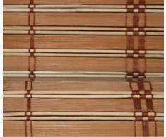 Estor de listones de madera de bambú (20 mm aprox.), bobina de polea con montaje en madera, ganchos de anclaje de metal