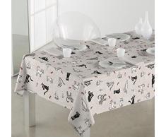 SABANALIA - Mantel de Tela Antimanchas Cats (Disponible en Varias Medidas) - 140 x 140