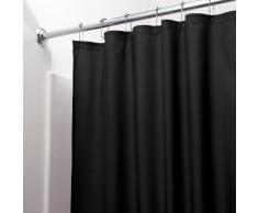 InterDesign Poly SC/Liner Cortina de baño de tela, Cortina impermeable con dobladillo reforzado, Cortina de ducha lavable en la lavadora, 183,0 cm x 183,0 cm, Poliéster negro