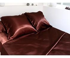 ZZZ 242063 - Juego de funda nórdica (poliéster, sábana de 240 x 300 cm, sábana bajera de 140 x 190 cm, 2 fundas de almohada 65 x 65 cm), color marrón satén