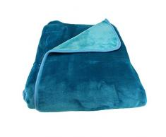 Gözze 40032-54-150200 reversible y manta, terciopelo cinta de terciopelo-reborde, tamaño aproximado 150 x 200 cm, azul/turquesa