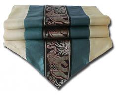 by soljo - turquesa mesa de mantel de lino camino de mesa corredor seda tailandesa elefante Elegante 150 cm de largo x 30 cm