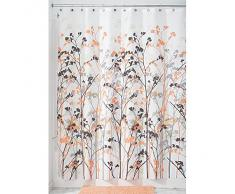 InterDesign Freesia Cortina de baño con estampado floral | Cortina de ducha de fijación firme | Cortinas para bañera o plato de ducha de 183 cm x 183 cm | Poliéster rojo coral/gris