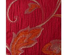 Just Contempo - Cortinas, diseño floral, poliéster, rojo granate, 2 abrazaderas para cortinas