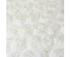 Just Contempo - Juego de funda nórdica y dos fundas de almohada, diseño con apliques florales, color rosa, mezcla de algodón, crema, cojín (30 x 45 cm)
