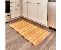 iDesign Alfombra antideslizante, alfombra de madera de bambú repelente al agua, alfombrilla de baño, cocina y pasillo de tamaño grande, marrón claro