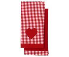 Retro/Vintage Home rojo/blanco de cuadros/Plain rojo de matrimonio paños de cocina - juego de 2 - con corazón rojo de decoración con apliques detalle