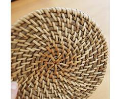 rota natural tejida a mano redondo decorativo cuenco posavasos cojín del aislamiento de la almohadilla de mantel de mimbre
