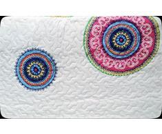 ForenTex- Colcha Boutí reversible, (L-2635), cama 150 cm, 240 x 260 cm, Estampada cosida, Mandala Granate, colcha barata, set de cama, ropa de cama. Por cada 2 colchas o mantas paga solo un envío (o colcha y manta), descuento