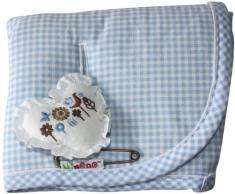 Minene 2061 - Funda protectora (para carrito y silla de coche, lado de algodón y lado de tejido de rizo), diseño de cuadros, color azul claro y blanco