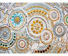 Oedim Alfombra Circulos Imitación Gresite Multicolor PVC | 95 cm x 165 cm | Moqueta PVC | Suelo vinilico | Decoración del Hogar