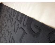 Alfombra de cocina salón diseño escrito, negro gris, lavable en lavadora, antideslizante.