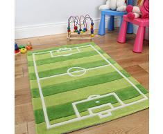 Divertido y durable tapete para niños, con diseño de cancha de fútbol. Verde. 70 x 100cm
