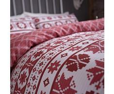 Catherine Lansfield CL Oslo Red - Juego de funda nórdica para cama de 105 cm