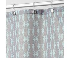 InterDesign Seahorse Cortina de baño | Cortina de ducha y bañera lavable de 183,0 cm x 183,0 cm | Cortina para bañera con diseño de caballitos de mar | Poliéster gris topo/verde