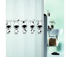 Spirella 180 x 200, Negro colección Beagle, Cortina de Ducha Textil, 100% Polyester, PEVA