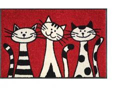 Felpudo/Felpudo/texto/Felpudo/Cassette/en alemán/esterilla/Con/para puerta sörnsen/Astra/Inglés/tapete/esterilla/resistente/texto/para calzado/Schuhabtreter/rojo/three Cats/gatos/para gatos sörnsen/tamaño: 50 x 75 cm/Luxus