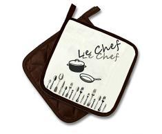 Kamaca Le Chef - Set de ropa de cocina, elige entre un par de agarraderas, un par de manoplas o un delantal de cocina, colores marrón y crema, diseño sencillo y elegante, 100% algodón., tela, 100% algodón, 1 Paar ( 2 Stück