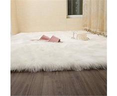 Alfombra de imitación de piel de cordero, artificial Alfombra, excelente piel sintética de calidad alfombra de lana ,Adecuado para salón dormitorio baño sofá silla cojín (Blanco, 75_x_120_cm)