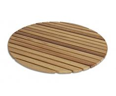 Tarima/Alfombrilla Flexible Circular para Ducha y baño, en Madera de Teca (60 cm)
