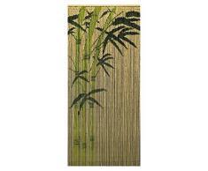 Leguana - Cortina de bambú cortina para puerta modelo dekovorhang bamboo 99 hebras de 90 cm x 200 cm con colgantes en rack