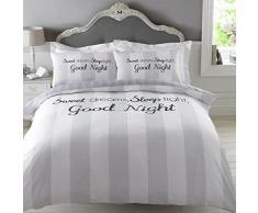 Dreamscene-Sweet Dreams funda de edredón juego de cama con funda de almohada, color gris, doble