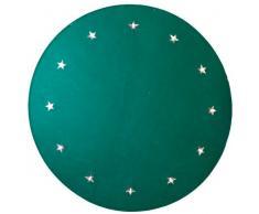 Best Season 607-06 - Alfombra para árbol, Fieltro, Aprox. 1 m de diámetro, 12 Bombillas LED de luz Blanca cálida, Transformador, Color Verde