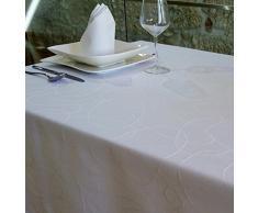 "Lujo Blanco – Mantel anti manchas Tratamiento – Tamaños Tamaño Grande Ref. Líneas, Blanco, 59 x 78"" (150 x 200cm)"