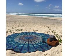 Tela redonda de mandala diseño de pavo real estilo Hippie, cubrecama, tapiz de pared, indio Boho algodón mantel o toalla, tapiz de pared colgante, alfombra de Yoga meditación redonda, 177,8 cm De Bhagyoday