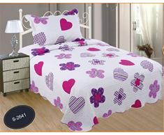 ForenTex- Colcha Boutí reversible, (L-2641), cama 150 cm, 240 x 260 cm, +2 fundas cojín, Estampada cosida, corazones fucsia, mandalas rosa, colcha barata, set de cama, ropa de cama. Por cada 2 colchas o mantas paga solo un envío