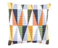 Vervaco - Kit para cojín de Ganchillo, diseño de triángulos, Multicolor