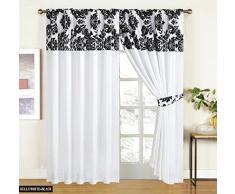 "Mitad Flock con Plain diseño de damasco listo para cortinas, color blanco y negro, microfibra, White Black, 90"" X 90"" (230cm X 230cm)"