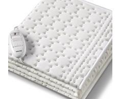 Beurer UB30 Calientacamas individual 100% algodón en capa superior, transpirable, lavable a mano, 3 potencias, display iluminado, cama individual, 75x130cm, blanco