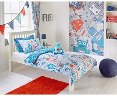Robots Boys Junior infantil Kids – Juego de cama de matrimonio juego de funda de edredón y funda de almohada, color azul