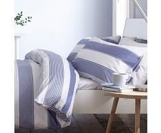 Catherine Lansfield New Quay Stripe Nórdica + Funda de Almohada, Cotton, Azul, 260x240+65x65(2), 3