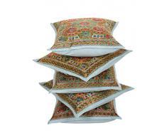 RAJRANG Decorativo algodón bordado Sofá Cojín 16 Por 16 establece 5 piezas
